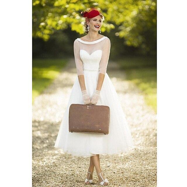 2017 Vintage Thee Lengte Trouwjurken Brautkleider Hochzeit Half Mouw ...
