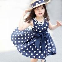2015 Summer Polka Dot Girls Dress For 2 7y Baby Girls Dress Point Dress Kids Wear