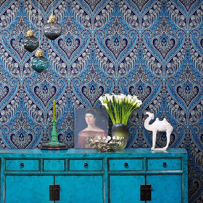 Retro Nostalgic National Wind Non-woven Fabric Damask Wallpaper For Living Room Bedroom Home Decoration Wall Paper Rolls Blue 3D home decoration 3d bathroom wallpaper retro nostalgic wood love wallpapers for living room 3d wall murals page 9