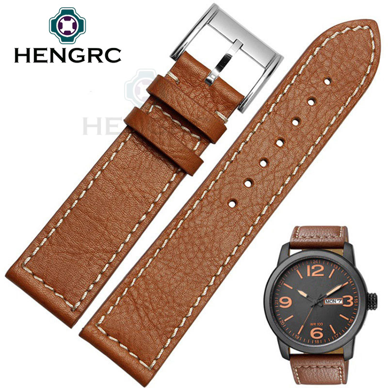 HENGRC Genuine Leather Watch Band Strap 22mm Men Hot Sale Brown Watchband Belt Stainless Steel Metal Needle Buckle high quality genuine leather watchband 22mm brown black wrist watch band strap wristwatches stitched belt folding clasp men