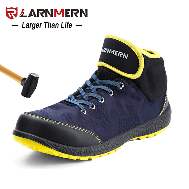 LARNMERN Mens Steel Toe Safety Work Boots S1P Lightweight Breathable Anti-smashing Anti-puncture Anti-static Protective Shoes steel-toe boot