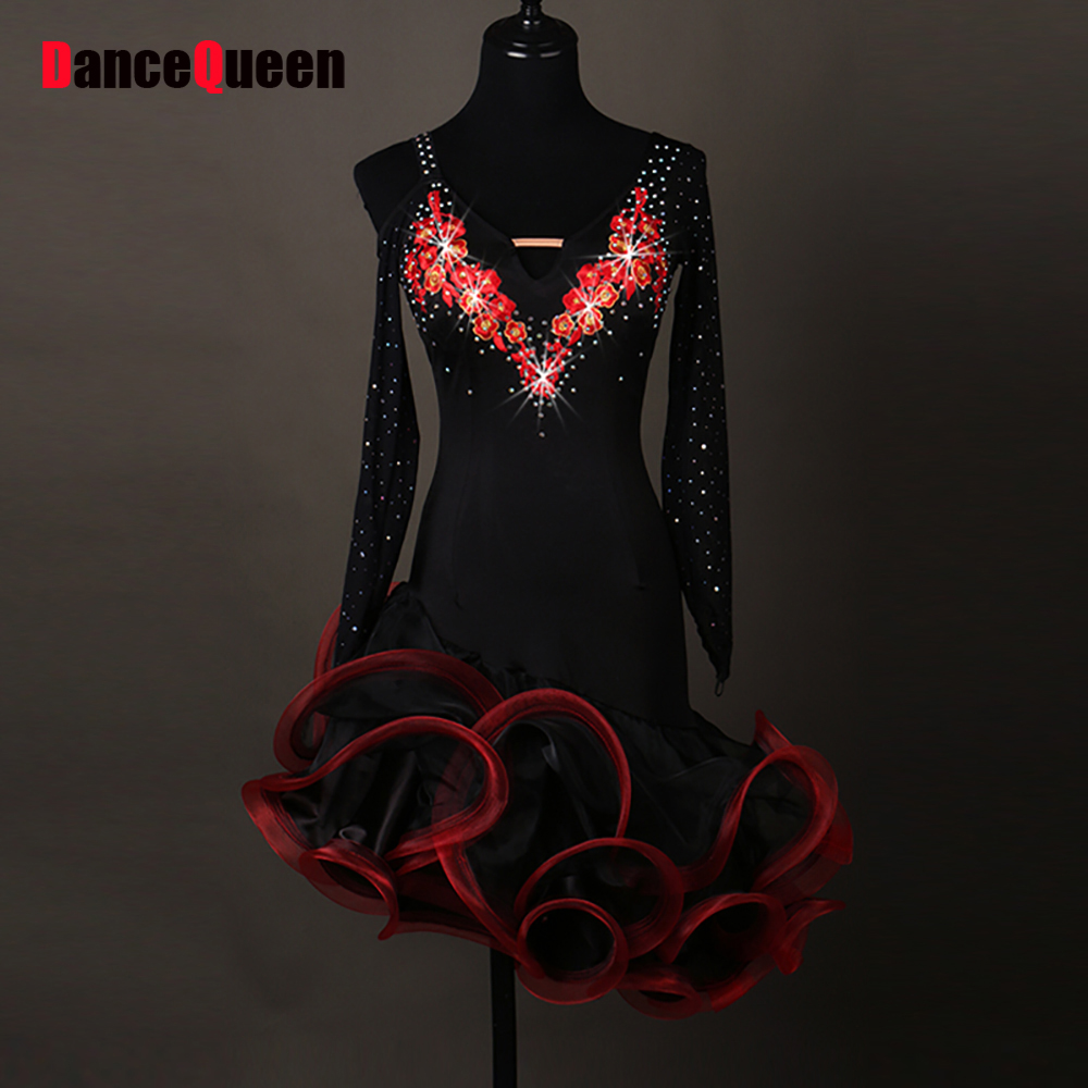2017 Women Latin Dance Dresses For Ladies 2 Colors Skirts Salomon Kaka Dance Dress Black Swan Lulu Tutu Tango Dance Costume