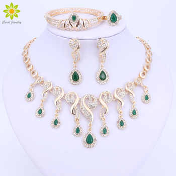Gold Color Crystal African Beads Jewelry Sets For Women Dress Accessories Wedding Bridal Necklace Earrings Bracelet Ring Sets - DISCOUNT ITEM  52% OFF All Category