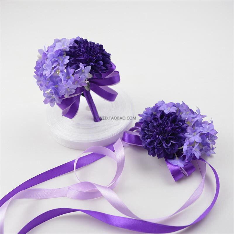 Best Wedding Flowers: Purple Diy Wedding Bouquet Wrist Corsage Flower Bracelet