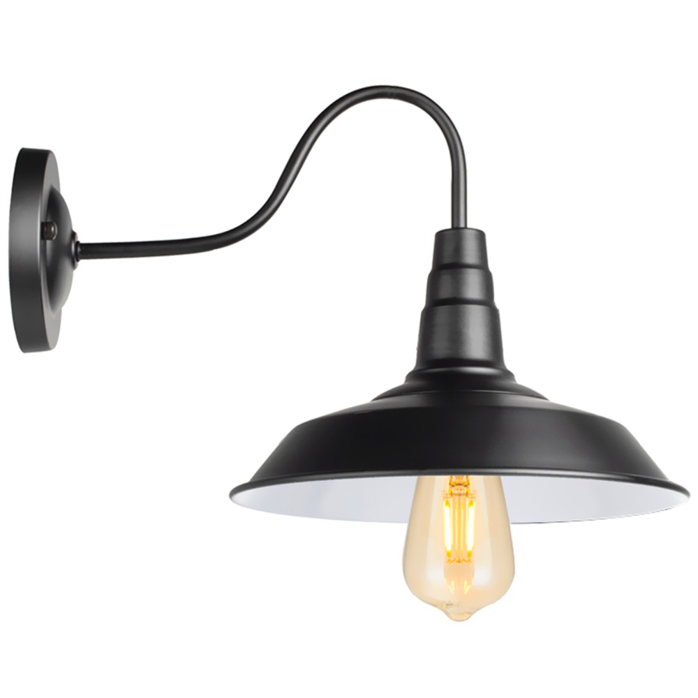 American Style Bedside Antique Wall Lamp Single-head Living Room Lights Vintage Barn Wall Sconce Black E26 Indoor/outdoor AZ01