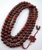 18mm Huge Tibetan Buddhism 108 Red Sandalwood Prayer Bead Mala Necklace