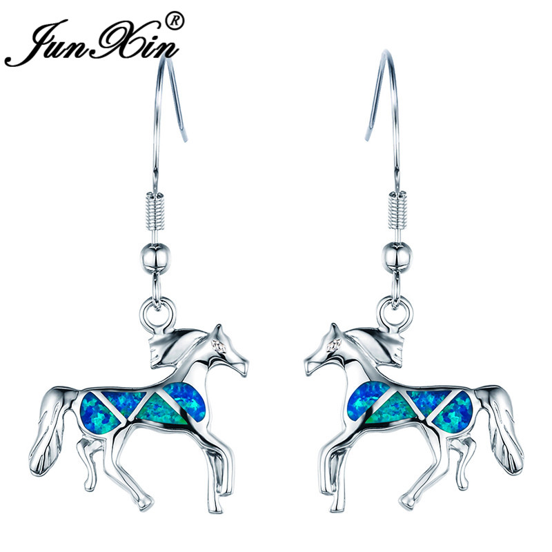 JUNXIN Cute Unicorn Horse Drop Earrings For Women White Gold Filled Luxury Birthstone Big Blue Fire Opal Dangle Earrings Gifts
