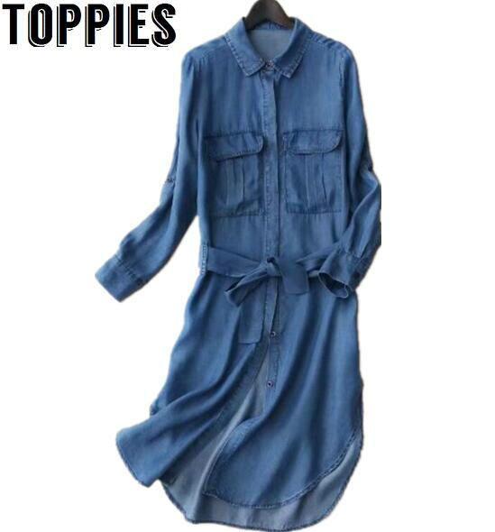 2017 נשים סתיו ארוך שרוולים ינס שמלת תורו למטה צווארון Tencel חגור שמלות עם כיסי נשים ג 'ינס שמלה