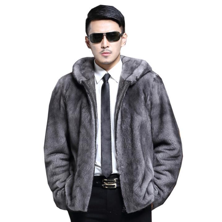 9dda114da Autumn faux mink leather jacket mens coats winter thicken warm fur leather  coat men slim jackets jaqueta de couro Hooded lapel