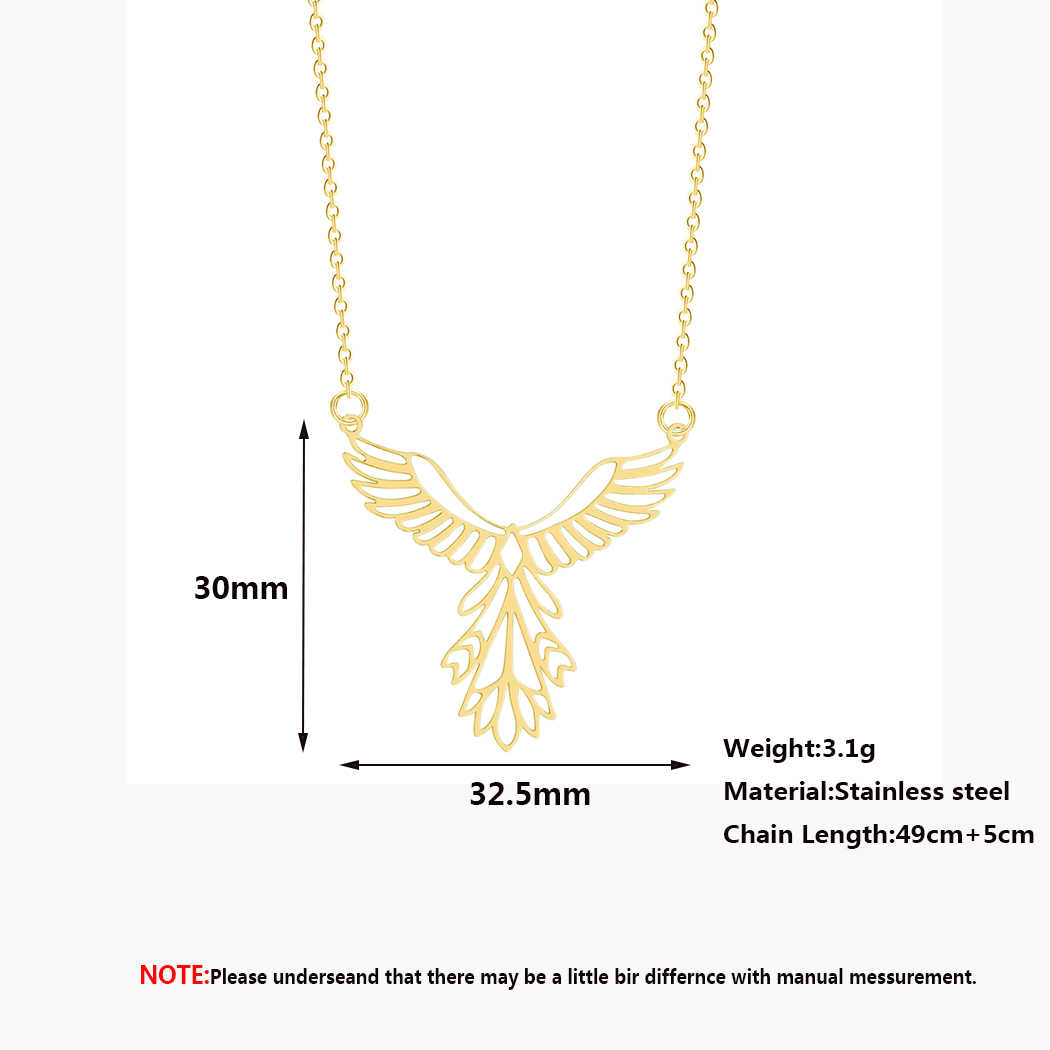 Statement Bird Phoenix Necklace Female Women Stainless Steel Jewelry Origami Phenix Pendant Friendship Necklaces Gift