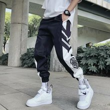 Mens Pants Pocket Cool Loose Men HipHop Striped New Fashion Black Joggers Trousers Streetwear