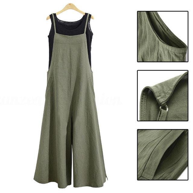 Plus Size Ladies Jumpsuit New Cotton Linen Harem Long Loose Spaghetti Strap Romper Casual Sexy Jumpsuit For Women Long Pants 3