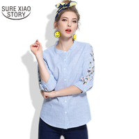 2017 Women Floral Embroidery Rose Blouse Full Cotton Loose Shirts Fashion Casual Lace Tops Blusas Women