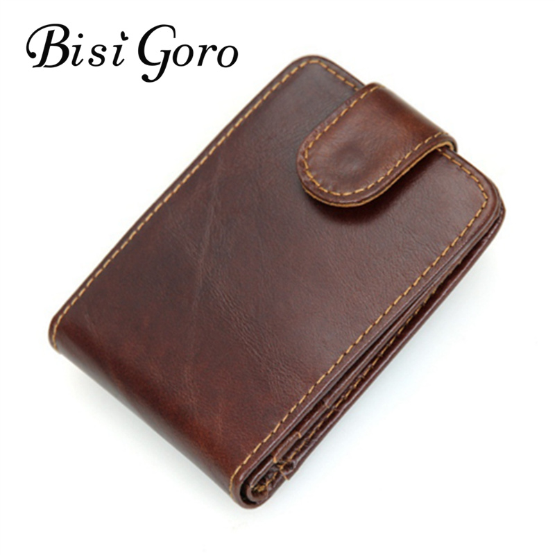BISI GORO 2018 Men Genuine Leather Vintage Mini Business Credit Card Holder Design Wallets with Coin Pocket Purses ...