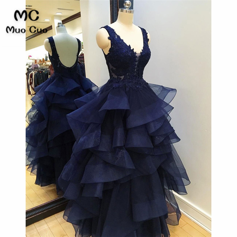 2019 Navy Blue Evening Dresses Long with Appliques Floor Length Prom Gown Ruffles Organza Formal Evening