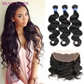 8A Full Lace Frontal Closure With Bundles Peruvian Body Wave With Closure 13x4 Ear to Ear Lace Frontal Closure With Baby Hair