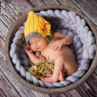 Newborn Baby Girl Photography Chrysanthemum Flower Hat Props Tiny Infant Unisex Baby Photo Shoot Cap Props fotografia acessories
