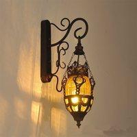 Lámpara de pared de luz luces lámparas vintage industrial apliques Bar sombra de exóticas color de dormitorio de vidrio moderno antiguo accesorio|Lámparas LED de pared de interior|   -