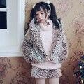 Princess sweet lolita shorts BOBON21 White pigment Leopard all-match Plush shorts winter warm thick fuzzy shorts  B1435