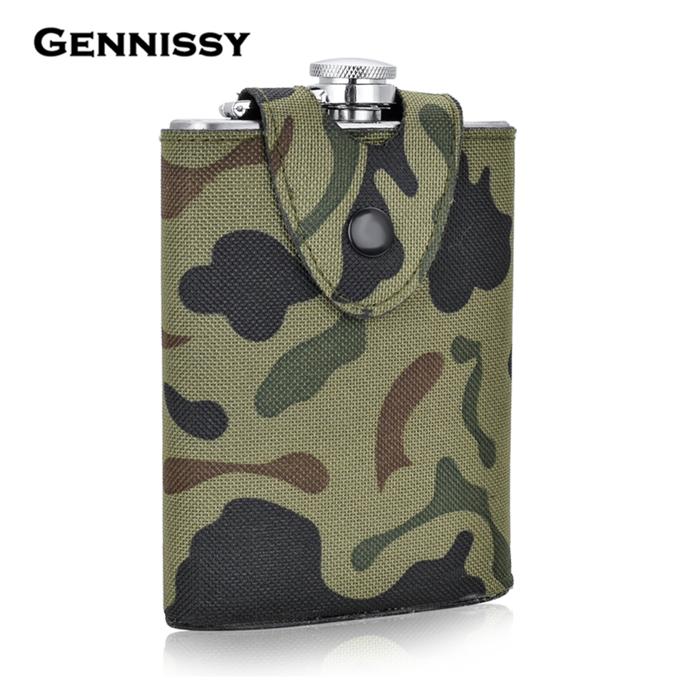 GENNISSY 8oz Military Stainless Steel Hip Flasks Liquor Whisky Portable Pocket Alcohol Bottle Covered Camouflage Holster