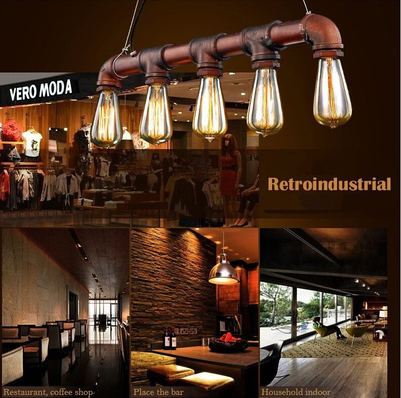 industrial bar lighting. VIntage Loft Industrial Water Pipe Lamp Retro Classic Edison Personalized Bar Lighting Counter Pendant Lights For Warehouse-in From A