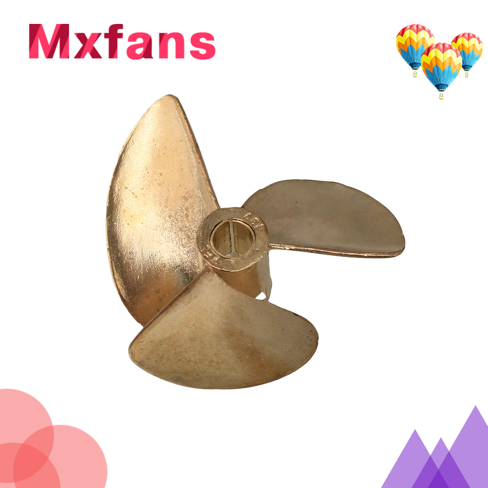 Mxfans 437 RC Boat Copper Propeller Three Leaves Hole 4MM Diameter 37MM Yellow