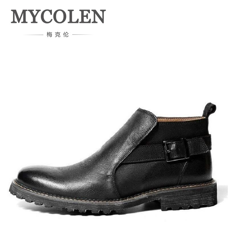 MYCOLEN Men Boots Comfortable Black Winter Warm Waterproof Ankle Boots Casual Men Cowhide Leather Boots Business Winter Shoes serene handmade winter warm socks boots fashion british style leather retro tooling ankle men shoes size38 44 snow male footwear