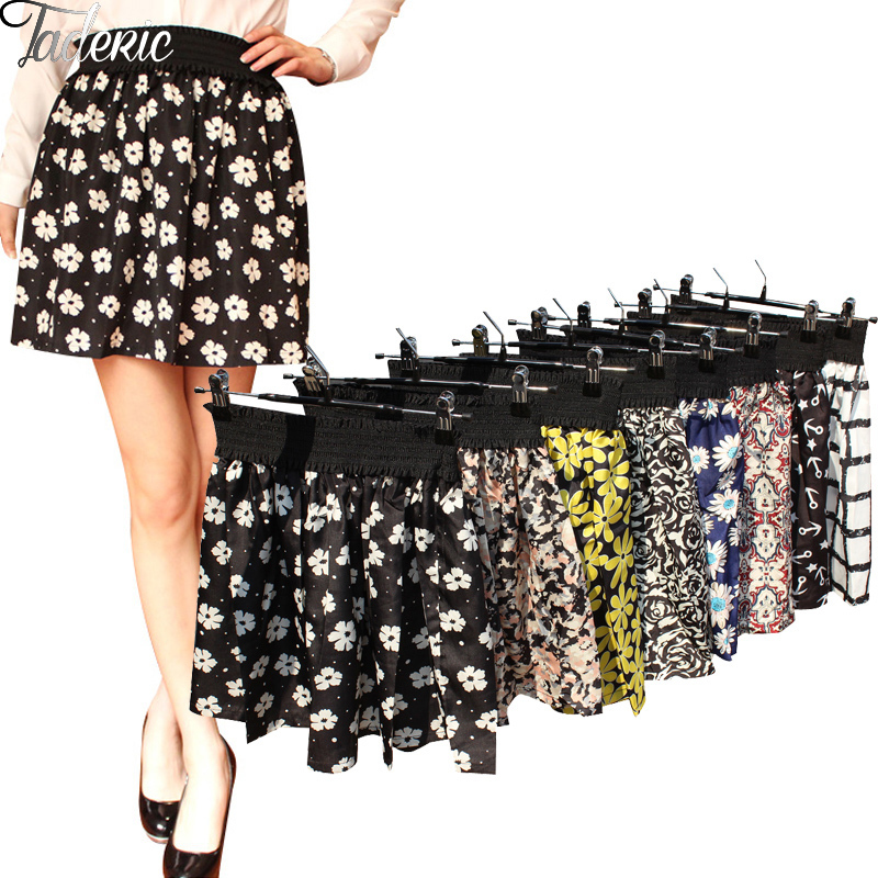 Fashion Pleated Retro High Waist Summer floral plaid Short Mini Skirts