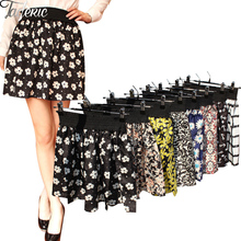 Jaderic 2016 new fashion Pleated Retro High Waist Summer floral plaid short chiffon skirts mini skirt    10 Styles