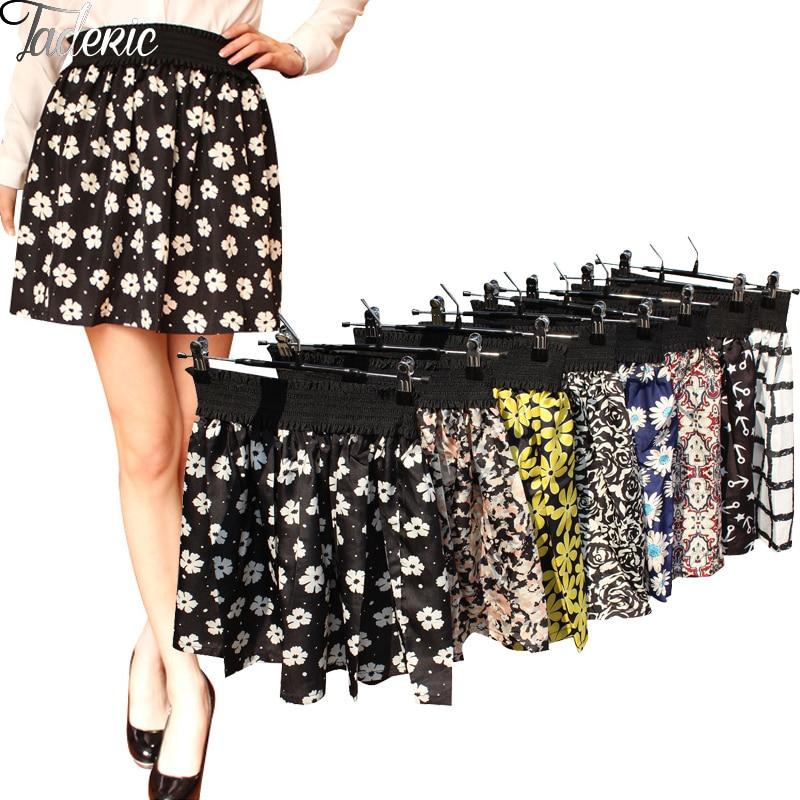 Jaderic 2018 New Fashion Pleated Retro High Waist Summer Floral Plaid Short Chiffon Skirts Mini Skirt  | 10 Styles