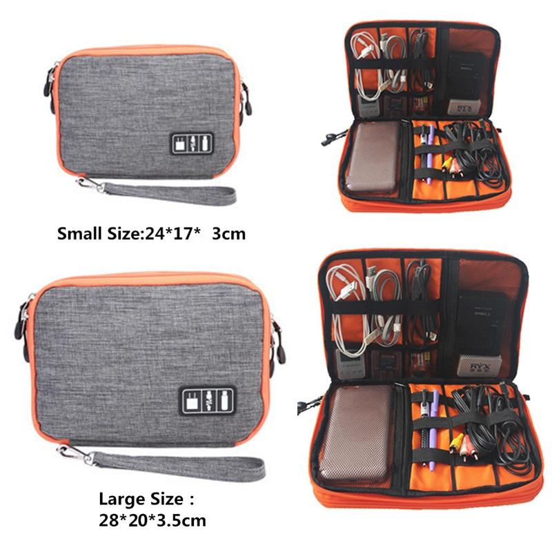 HMUNII  Waterproof Double Layer Cable Storage Boxes Electronic Organizer Gadget Travel Box USB Earphone Case Digital Organizador