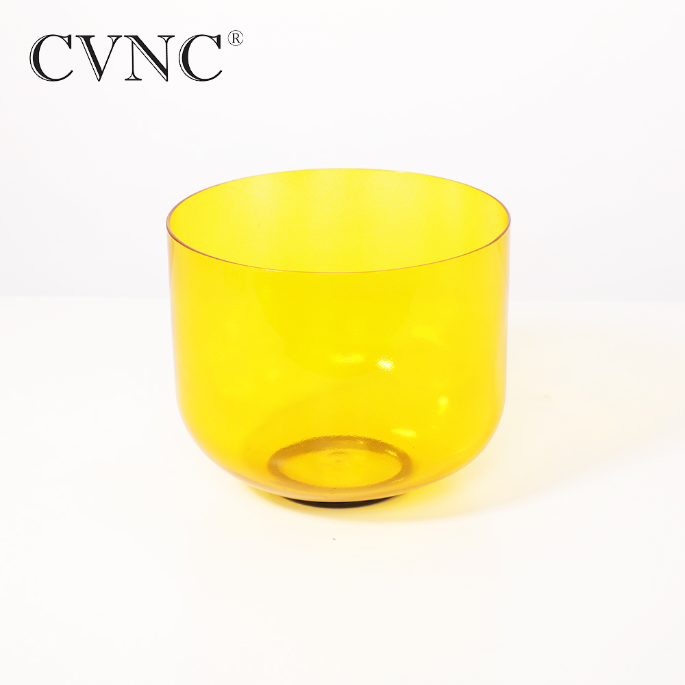 CVNC 6'' Yellow Colored Clear Note E Solar Plexus Chakra Quartz Crystal Singing Bowl With Free Mallet and O Ring Gift