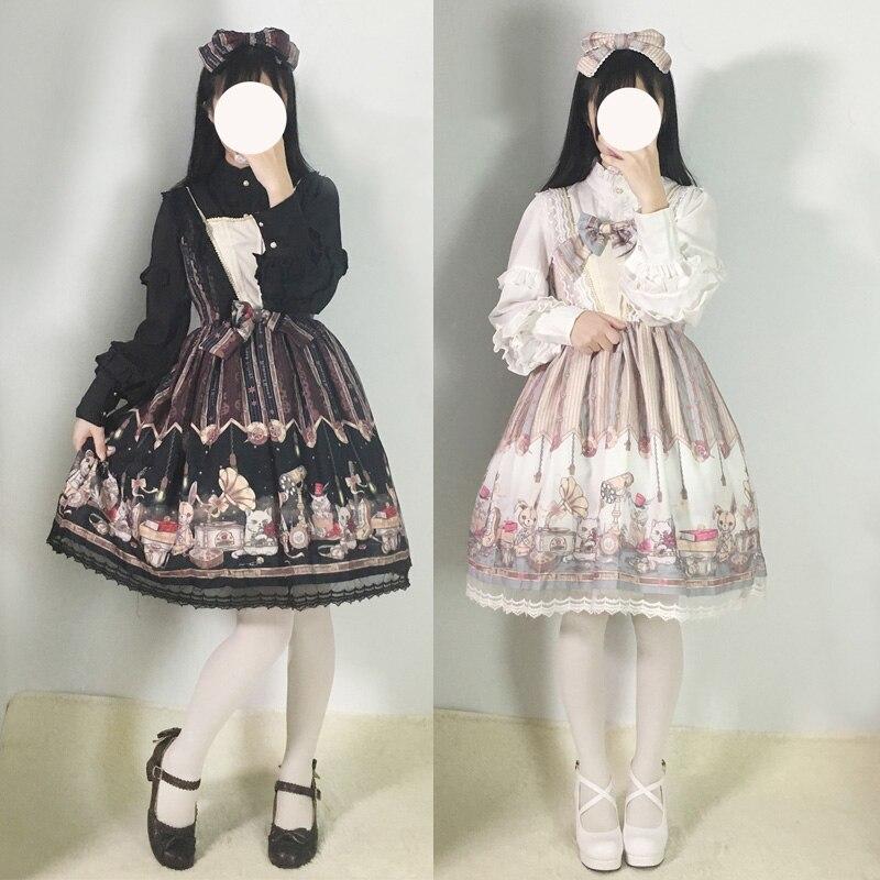 2018 été vapeur tétralogie LOLITA robe élégante JSK Punk vintage poupées impression robe en mousseline de soie