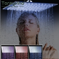 Bathroom Shower Head Luxury Chrome Brass LED Square Rain Shower Head Top Over Shower Sprayer For