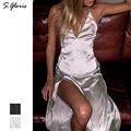 S.gloris Pajama Satin Dress Free Style Silver Glossy Club Maxi Beach Dress Deep V-Neckline Long Dress Women Party Maxi Vestido