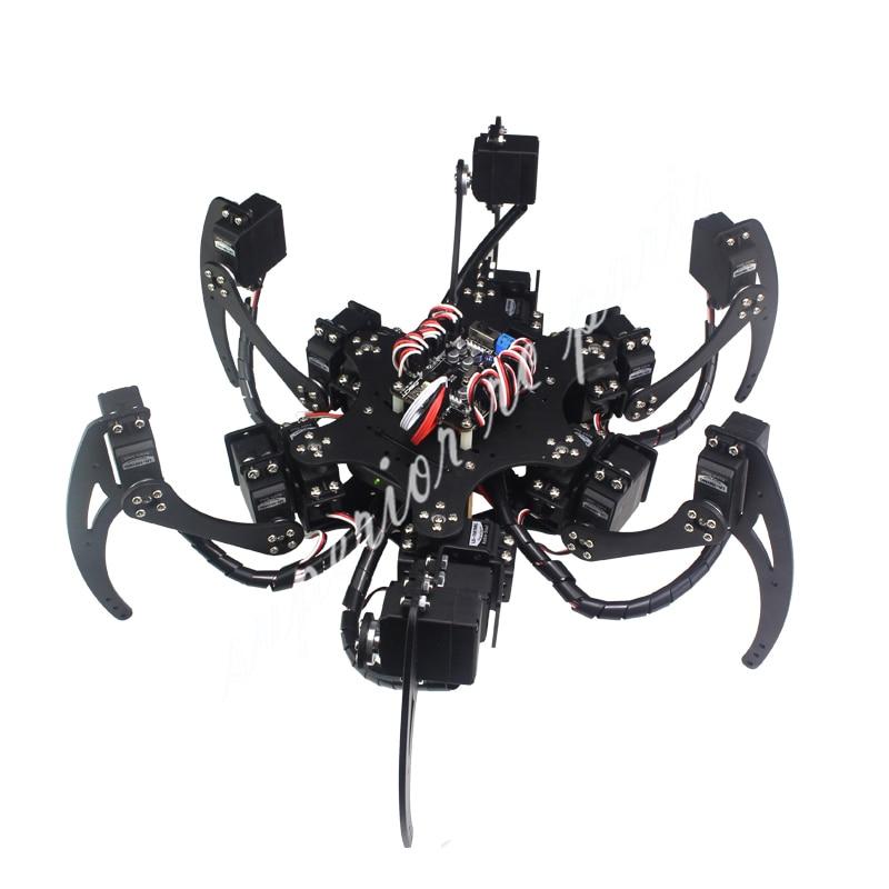 18 DOF Aluminium Hexapod Spider Six 3DOF Legs Robot Frame Kit with Ball Bearing Fully Compatible