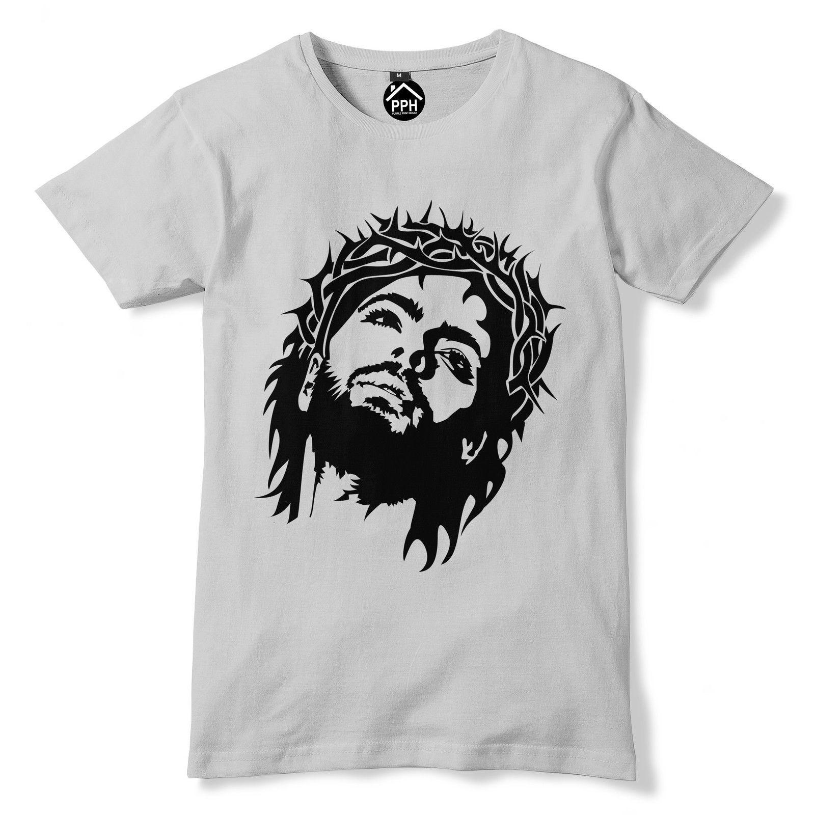 Jesus Christ Face Tshirt Retro Religion Cross Crucifix Top Men Man Shirt 389  Free shipping Tops t-shirt Fashion