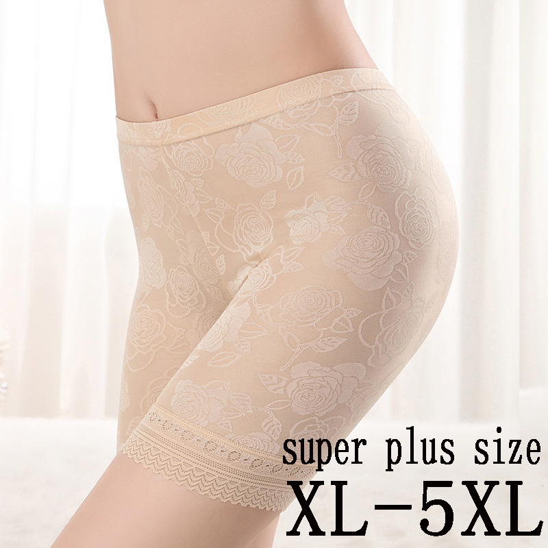 Safety Shorts Women Plus Size Summer Breathable Safety Shorts Sexy Lace Panties Heavy Waist Fashion Women's Safety Underwear 5XL