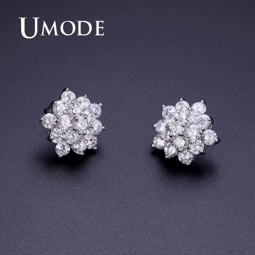 Umode nova flor na moda bonito aaa + clear cz brincos para mulheres moda festa de noivado jóias pendientes mujer moda ue0362