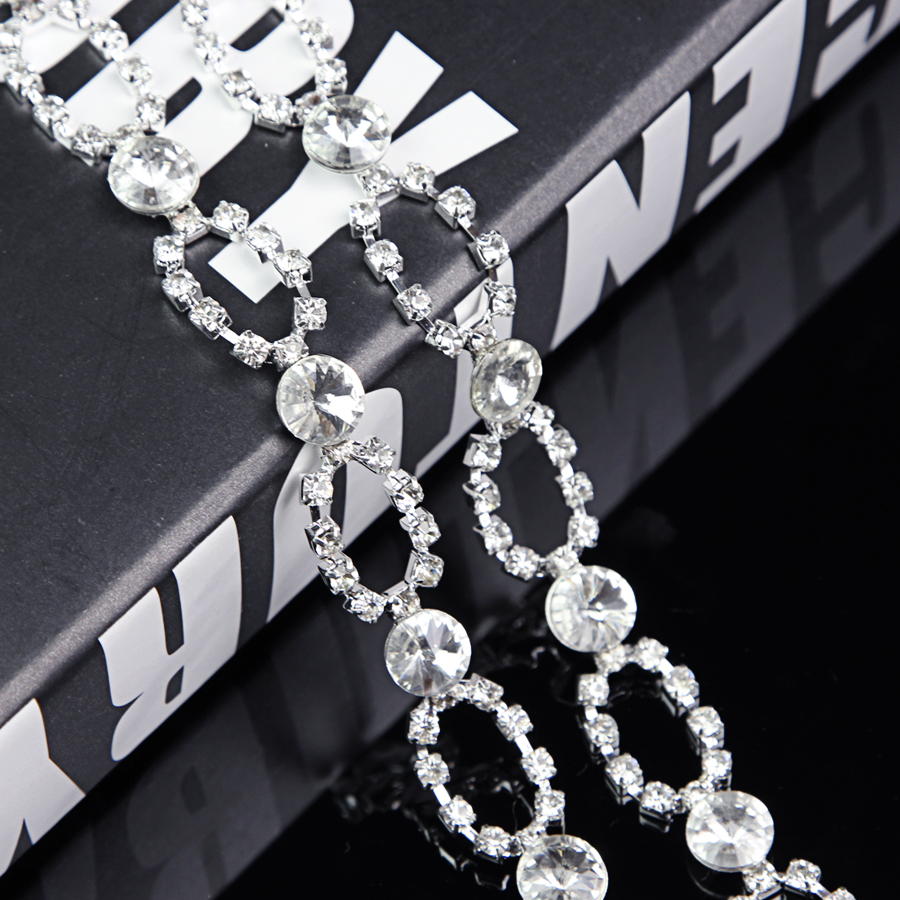 100Yards Quality Clear Crystal Diamante Rhinestone Chain Ribbon Bridal Wedding