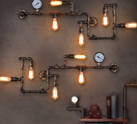 loft vintage Water Pipe Wall Lamp Sconce American Vintage Industrial Light Fixtures Bar Coffee Home Decor Apliques Pared