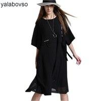 2018 קיץ בתוספת גודל ארוך צוואר O השחור פאנק רווה סגנונות סקסי שיפון רופפת שמלת ליידי שמלות לאישה streamer A0A-8006Z30