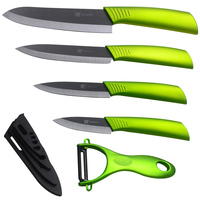 4 Piece Set Ceramic Knife Black Blade Green Handle One Sharp Peeler And Four Black Cover