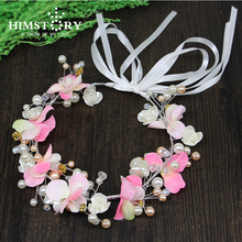Elegance Handmade Pink Beads Crystal Headband Leaf Pearl Wedding Hair Jewelry Bridal Girls Photography Hair Accessorie цены онлайн