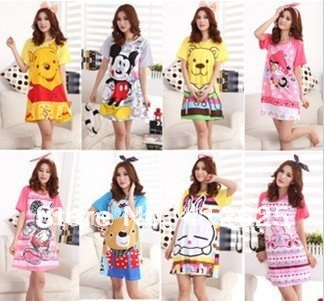 Promotion ! Short-sleeved Cotton Cartoon Lingerie SpongeBob Cat Mickey Hello Kitty Tracksuit Pajamas Freeshipping