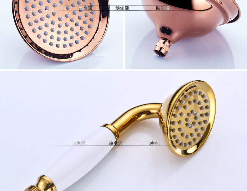 "HTB194CGdBbM8KJjSZFFq6yynpXaQ Luxury Rose Golden Bathroom Shower Faucet Wall Mounted 8"" Rain Showerhead Coming With Hand Spray Round Bar Mixer Shower Set"