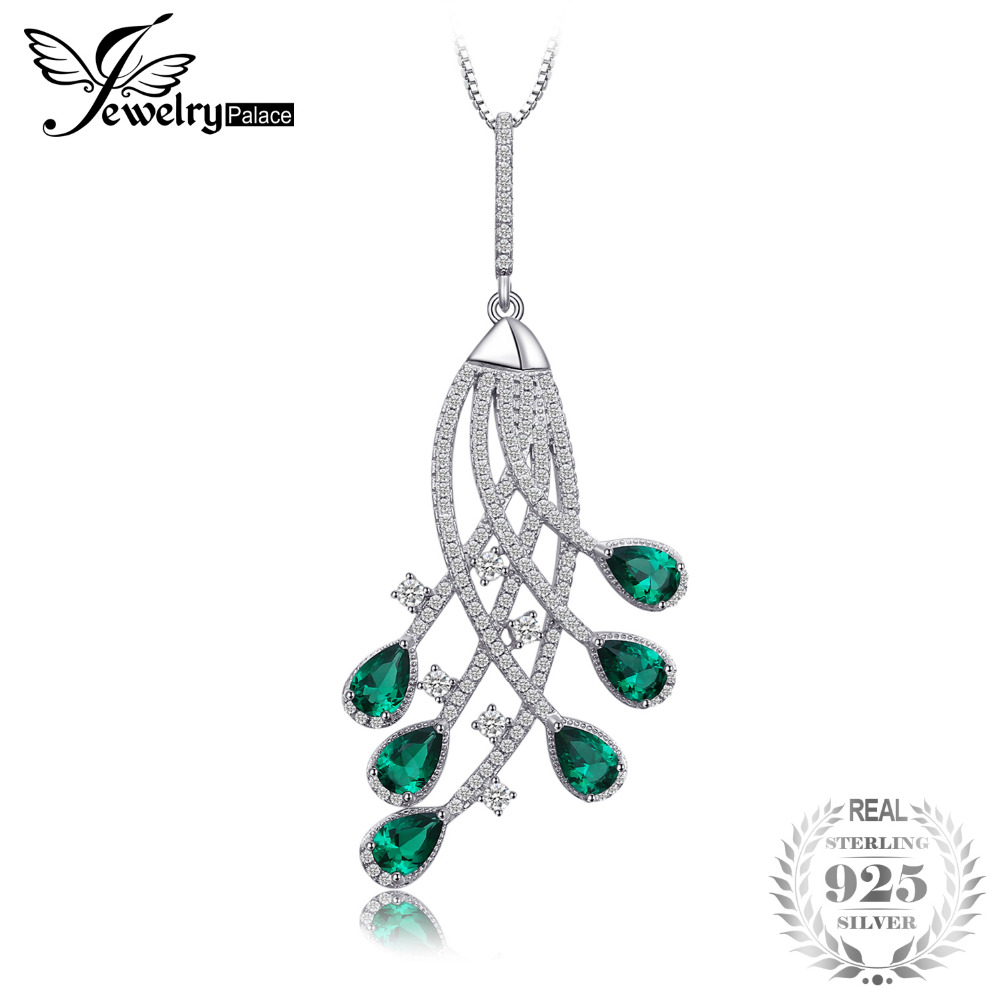 2ct Nano Russian Simulated Emerald Party Pendant 925 Sterling Silver Gift For Monther Girls Not Include the Chain