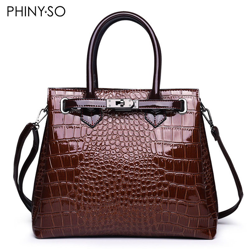 Vintage ALLIGATOR Patent Leather women handbag Briefcase
