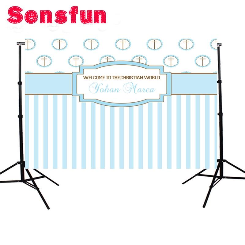 Consumer Electronics Sensfun Birthday Baby Shower Backdrops White Blue Stripes Table Banner Photocall Background 7x5ft Photo Studio