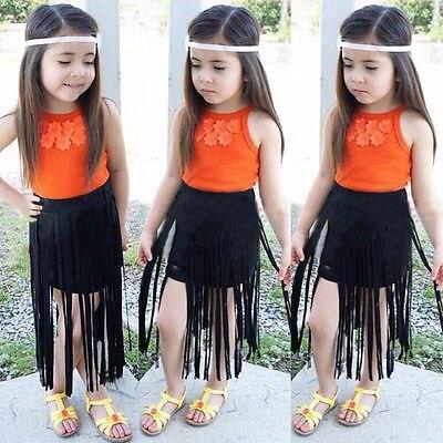 2pcs Kids Baby Girls Outfits Set Boho Flower Orange Tank Tops+Tassels Black Skirts Summer Children Clothing Set 2-8Y